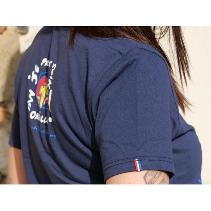 "Tee-shirt bleu marine ""J'aime la musique"" col V Fabriqué en France"